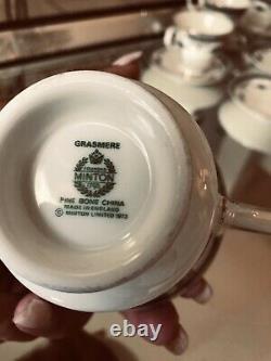 Minton Grasmere England China Bone Teacups Set Of 12 Cups & Saucer Mint Con