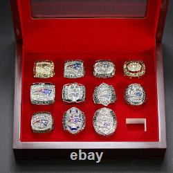NFL New England Patriots World Championship Ring Replica Display set 11pcs