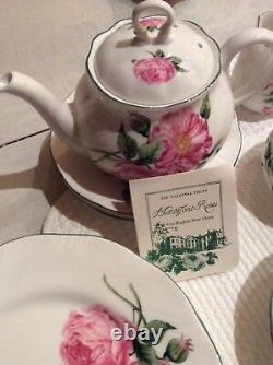 National Trust Bone China England NEW RARE Vintage Pink Rose Tea Set for 4