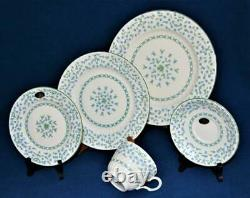 New AYNSLEY Bone China England Fluted Rim FORGET ME NOT 5 Pc Place Settings