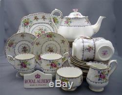 Nice 24 Piece Royal Albert England PETIT POINT Bone China Tea Set Service For 6