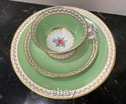 Old Royal Bone China Tea Cup/ Saucer/ Dessert Plate Green w Gold Trim Set of 4