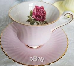 PARAGON BONE CHINA (4)CUP & SAUCER SETS BLUE, GREEN, YELLOW, PINK WithROSES ENGLAND