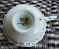 PARAGON Large Cabbage Rose Teacup and Saucer Set Gold Rimmed England Bone China