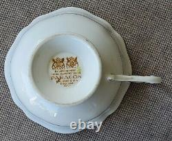 PARAGON White Orchids Teacup and Saucer Set Gold Rimmed England Bone China RARE
