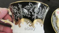 Paragon Fine Bone China England V Fancy Black Gold Floral Cup & Saucer Set Rare
