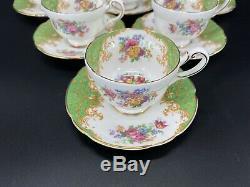 Paragon Rockingham Green Demitasse Coffee Cup Saucer Set x 6 Bone China England