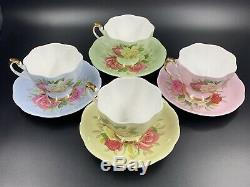 Queen Anne Lady Sylvia Tea Cup Saucer Set of 4 Rainbow Bone China England Rare