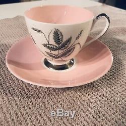 Queen Anne Tea Set Harvest PinkFine Bone China England Gilded Black Wheat