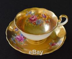 RADFORDS Fenton Bone China England Gold Gilt FLORAL BOUQUET Set Cup & Saucer