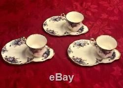 RARE! 3 Royal Albert Moonlight Rose Tea Cups and Saucer Set England Bone China