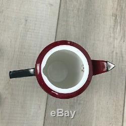 RARE Shelley China England Art Deco Vogue pattern Coffee Set 11776/41 Maroon Blk