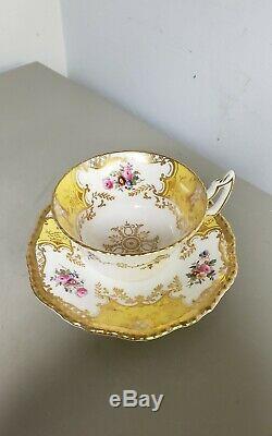 RARECOALPORT Bone China England PANEL YELLOW FLORAL Gold Set Cup&Saucer #Y2480