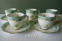 ROSLYN HIGHLAND BELL BONE CHINA COFFEE POT SET with DEMITASSE CUPS ENGLAND