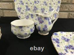 ROYAL ALBERT Bone China England BLUE PANSY CHINTZ Luncheon dessert Set Service 6