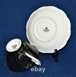 ROYAL ALBERT Bone China England Black Background ROSE Inside Set Cup & Saucer