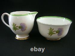 ROYAL DOULTON Vintage Art Deco 1930s China TEA SET for 6 GLAMIS THISTLE Scottish