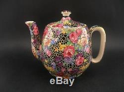 ROYAL WINTON HAZEL BLACK CHINTZ Breakfast Tea Set Vintage English China 1930s