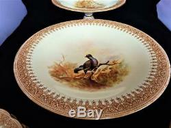 ROYAL WORCESTER VITREOUS CHINA ENGLAND 15 PIECE RARE GAME BIRDS DESERT SET 1880s