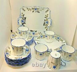 Rare Antique Wedgwood fine China England Blue Flowers Silver Gild 21 pc tea set