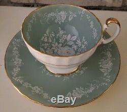 Rare Aynsley Sage Green White Rose Teacup and Saucer Set Bone China England