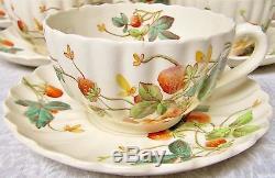 Rare! Lot Of 6 Cup Saucer Sets Strawberry Spode China Copeland Chelsea England