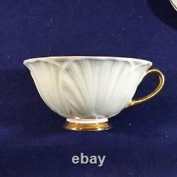 Rare SHELLEY Bone China of England Footed Mint Green Oleander CUP & SAUCER SET