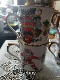 Rare Vintage Rosina Queens England Fine Bone China Special Set Of 6 Festive Mugs