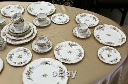 Roslyn Moss Rose England Bone China 43 Piece Dinnerware Set
