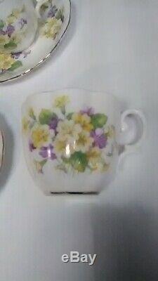 Royal Albert Bone China England 16 Piece Tea set Yellow and Purple Flowers Gold