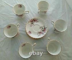 Royal Albert Bone China England Lavender Rose Tea Set 14 Pieces 6 Cups Saucers