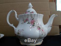 Royal Albert Bone China England Lavender Rose Tea Set, Teapot, Cups/Saucers for 4
