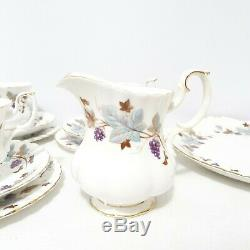 Royal Albert Bone China England Lorraine Trio Tea Set Milk Creamer Serving Plate