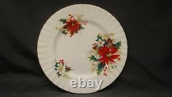 Royal Albert Bone China England Poinsettia Yuletide 10 Dinner Plate Set 7
