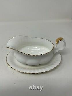 Royal Albert Bone China England Val Dor White With Gold Trim 25 Piece Lot Set