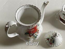 Royal Albert Bone China Teapot Coffee Pot Yuletide Poinsettia England Set 4pc