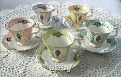 Royal Albert Bone china England Pierrette Series Cup and Saucer Set of 5