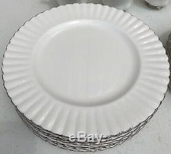 Royal Albert CHANTILLY Platinum Band 35 Piece Dish Set Bone China England