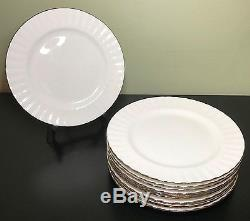 Royal Albert CHANTILLY Platinum Band Salad Plate Set of 11 Bone China England