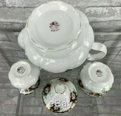 Royal Albert Celebration 3 Pcs Set Tea Pot Creamer Sugar Bowl Bone China England