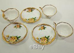 Royal Albert Cup & Saucer Bone China England Set Of 3 Pattern #4226 Yellow Roses