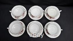 Royal Albert England Bone China Lavender Rose Set of 6 Cream Soup Bowls & Saucer