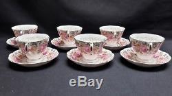 Royal Albert England Bone China Serena Set of 6 Malvern Shape Cups & Saucers