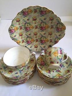 Royal Albert England Rose Chinz Bone China Coffee &Tea Set For 8 Plus Cake Plate