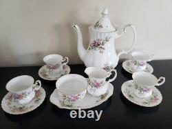 Royal Albert Moss Rose Bone China Set 12 Pieces 1960's Made In England Rare