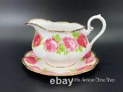 Royal Albert Old English Rose Gravy Boat with Saucer Set Bone China England
