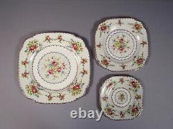 Royal Albert Petit Point Bone China Dinner Set for 8 Salad Bread Plates England