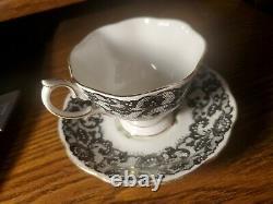 Royal Albert Senorita Cup & Saucer Nr-MINT Set Rose + Lattice Bone China England