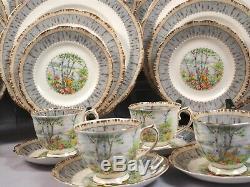 Royal Albert Silver Birch Large Dinner Set Plates Salad Bread Bone China England