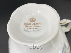 Royal Albert Silver Maple Tea Cup Saucer Set x 6 Bone China England